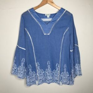 Sundance Embroidered Bell Sleeve Blouse